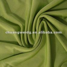 Chartreuse light green ribbed polyester spandex stretch fabric, by the yard
