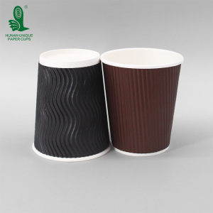 USA UK Factory New Products 8oz 12oz 16oz Ripple Double Single Wall Disposable Black Kraft Soup Paper Coffee Paper Cup With Lid