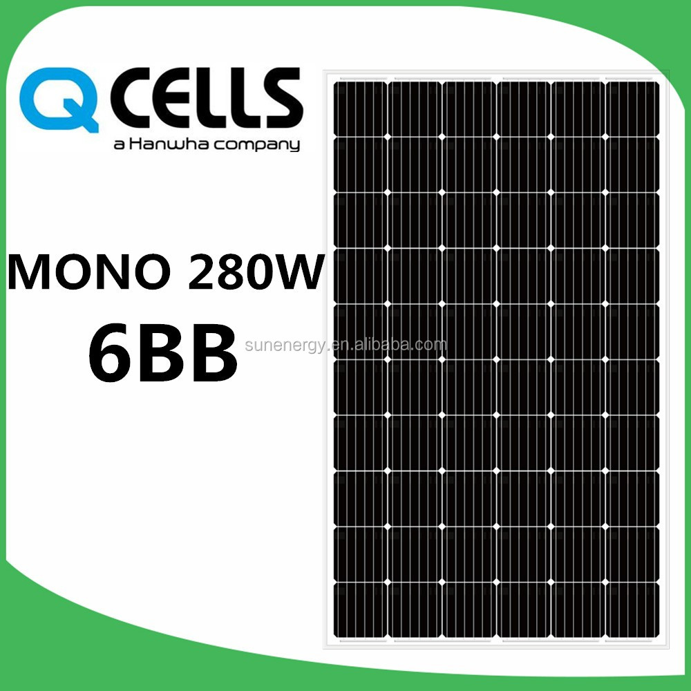 germany hanwha Q cells mono 280W solar panels with 6BB lines cells Q.PRIME-G5 280
