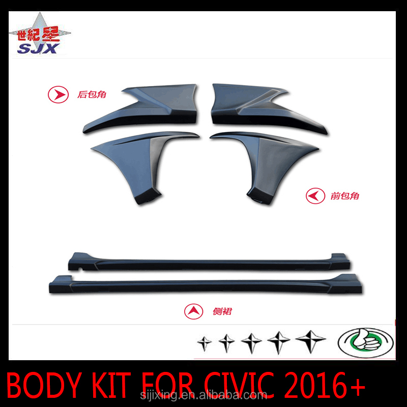 New arrival high quality abs spoiler PP material car body kit with primer color for Honda civic 2016