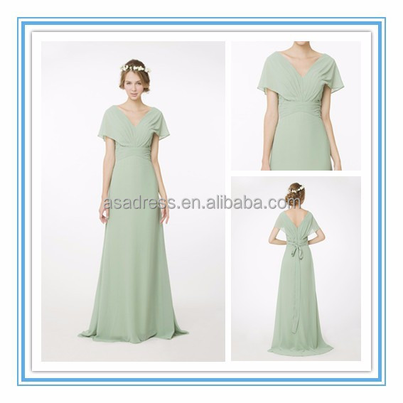 New Elegant Flair Sleeves V-Neck Draped Empire Waist Bridesmaid Gown Custom Made Chiffon Bridesmaid Dress Pattern 2015(RHM-2109)