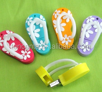 Promotion unique design lovely gift slippers shape usb flash memory 16 gb