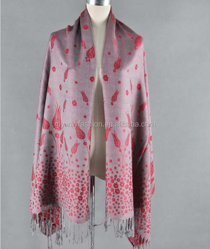 long style of length and 100% polyester material pashmina scarf and shawl