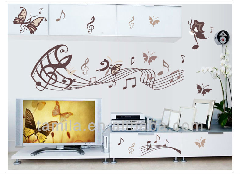 Home Decorative and Removable Music Note PVC Wall Sticker