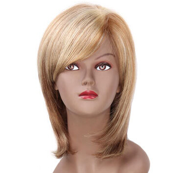 synthetic hair short bob wigs with side bangs brown blonde highlights