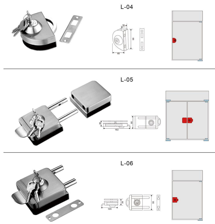frameless glass door magnetic lock,glass door lock with keys