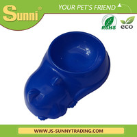 Cat shape melamine dog bowl rubber ring