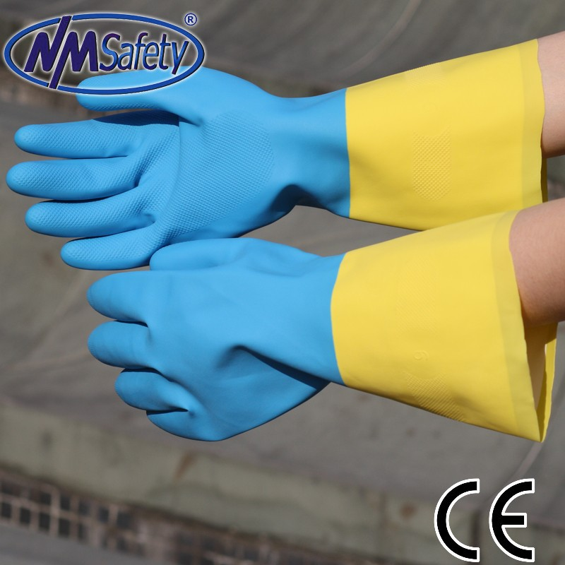 NMSAFETY diamond grip on palm gloves blue and yellow safety glove