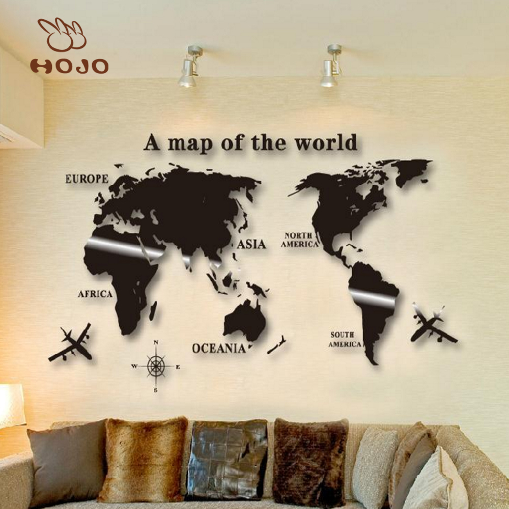 why order acrylic sofa world map 3d art home decoration wall stickers