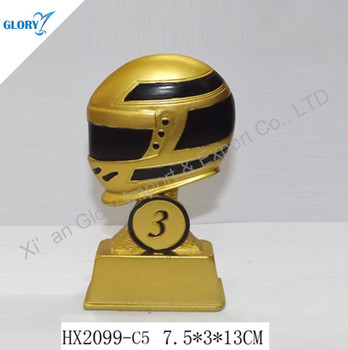 Golden Motorcycle Cap Figurine Resin Motorcycle Trophy