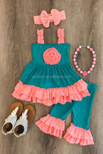 Summer toddler girls boutique outfits high quality kids 100% cotton ruffle sleeveless tops and pants set girl flower clothing