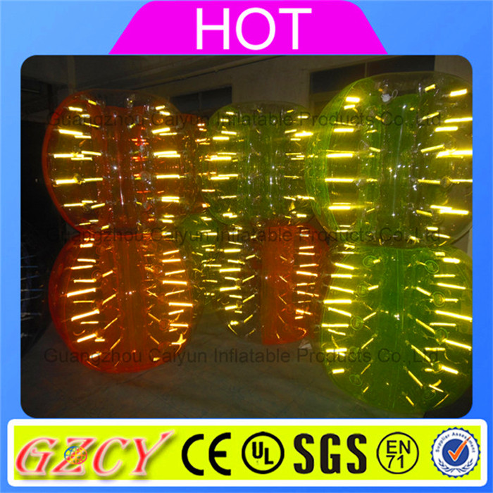 2016 Glittering fluorescent zorbing bumper ball inflatalbe glowing bubble ball for soccer and football play