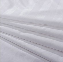 use hotel bedding 50/50 polyester/cotton white satin stripe fabric