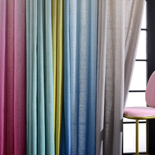 New Product Comfortable Design Faux Linen Ready Made Solid Color Sheer Curtains For Hotel