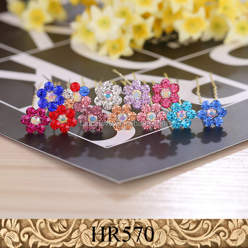 Fancylove Jewelry hair pins flower crystal U shape hairpins for hair