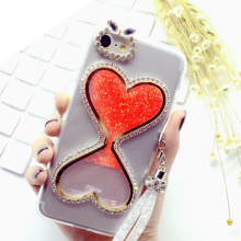 2017 New Heart shape liquid sand glitter cell phone case For iPhone X 8 Plus 6 7