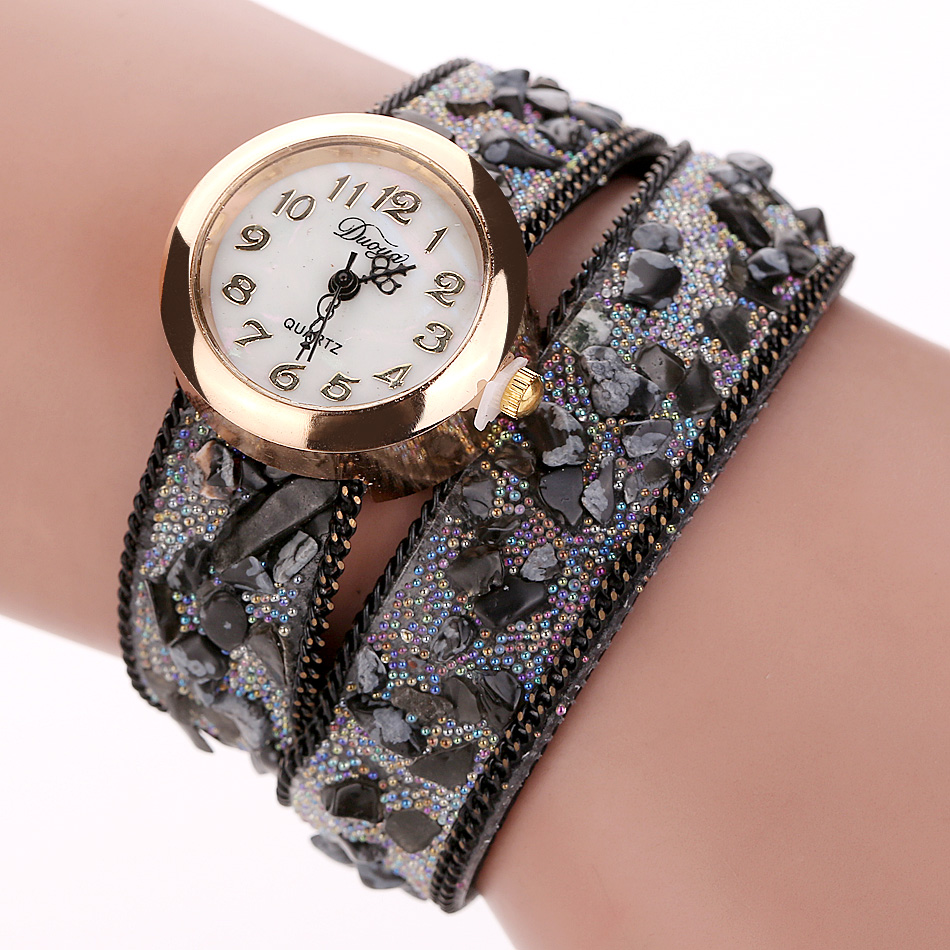 Duoya New Fashion Leather Bracelet Watch Women Casual Stone Dress Vintage Wristwatch Luxury Sport Quartz Watch Clock Gift