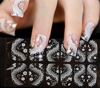 New Black Lace Nail Stickers 3d Rhinestone Full Cover Adhesive Nail Art Foil Polish Decals Nail Beauty Decorations