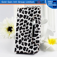 Mobile Phone Accessories Leopard Print Wallet Strap Case For Galaxy S4 I9500 Leather Flip Case