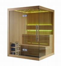 Dry steam luxury transom windows computer controlled solid wood sauna room (M-6031)
