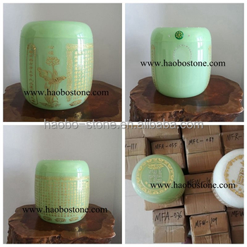Polished Natural Stone China Quarry Delicate Green Coloured Glazed Cremation Urns ,mini urns for human ashes,wholesale price