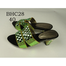BHC28 Queency Italian Hot Selling Cheap Price Shiny Crystal and Stones Leather Low Heel Ladies Girls Fancy Sandals Shoes