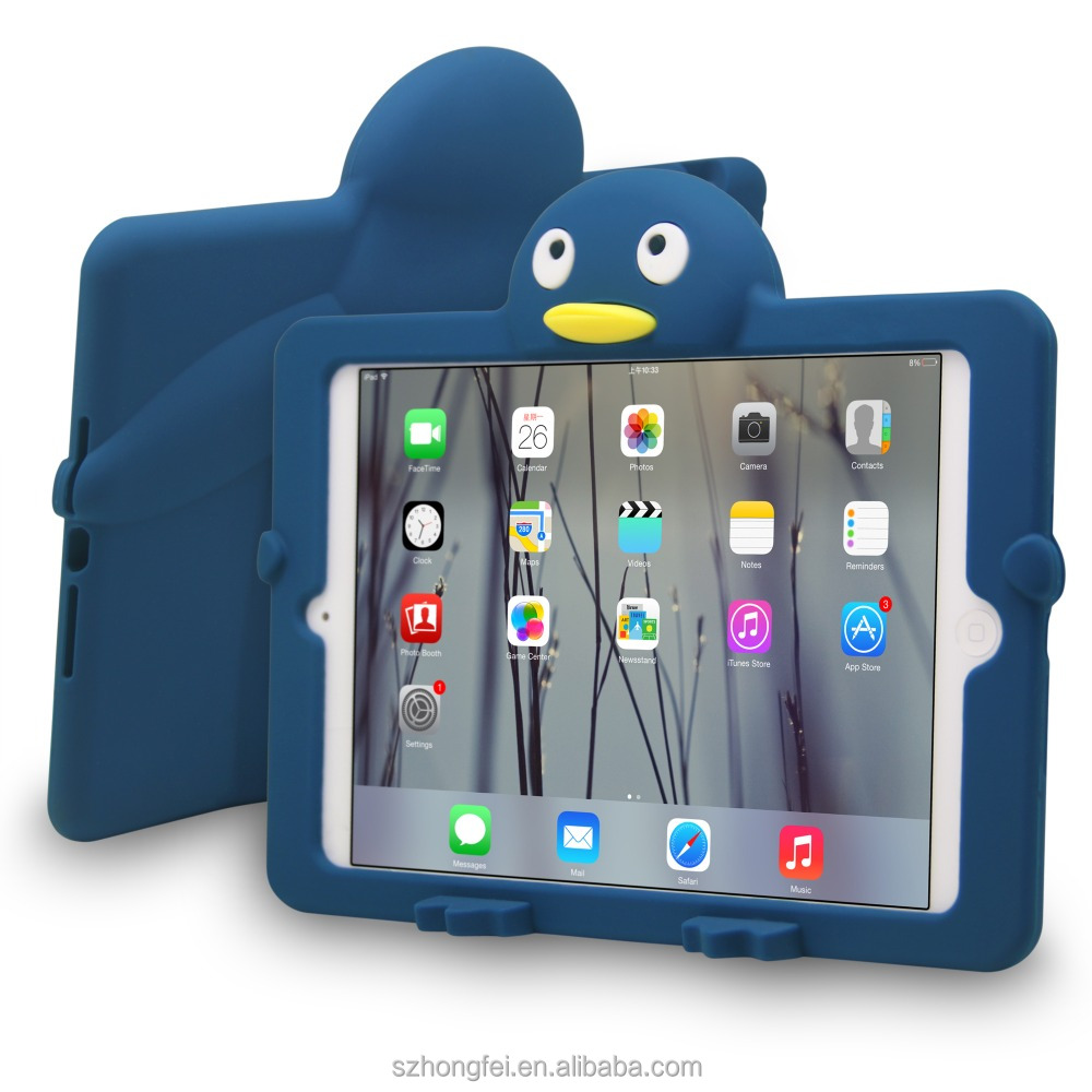 Case for iPad mini1/2/3, Lovely penguin Silicon Case Cover For iPad mini 1/2/3