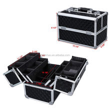 Adjustable Makeup Train Case Alumi Portable Cosmetic Box with 4 Extendable Trays and 2 Locks Black