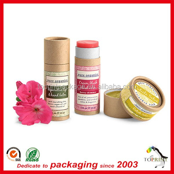 make your own paper cardboard push up tubes packaging for cosmetic lip balm