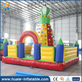 Outdoor challenge sport game for kids/ inflatable rock climbing wall with bouncer /