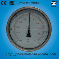 YBF-150D 6 inch stainless steel case bourdon tube back mounting pressure gauge high accuracy 1.0% NPT1/2
