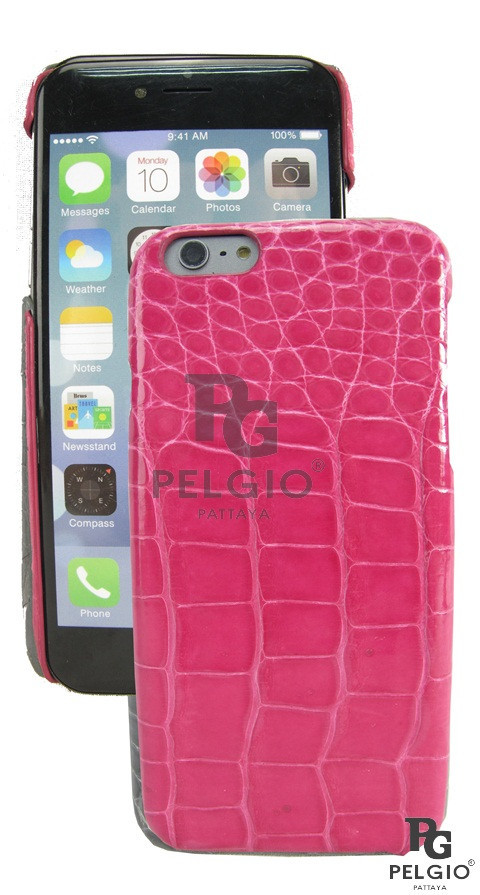 "PELGIO Genuine Crocodile Belly Skin Mobile Phone i6+ Plus 5.5"" Hard Case Pink"