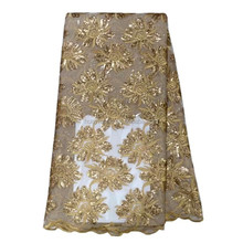2016 High quality big flower gold lace fabric for garment sequin lace fashionable lace HYX0017