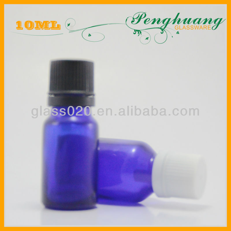 White cap and 10ml blue essential oil diffuser bottles