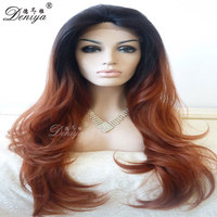 African American lace front wig long hair nutural wave ombre synthetic wig