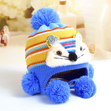2017 winter new cartoon cat shape ear protection cap knitted baby hat with earflaps and pompom