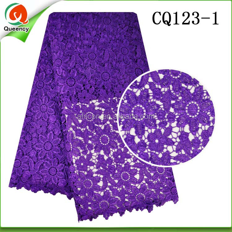 CQ123 Queency Purple African Flower Embroidery Fabric Samples Nigerian Styles Cord Lace