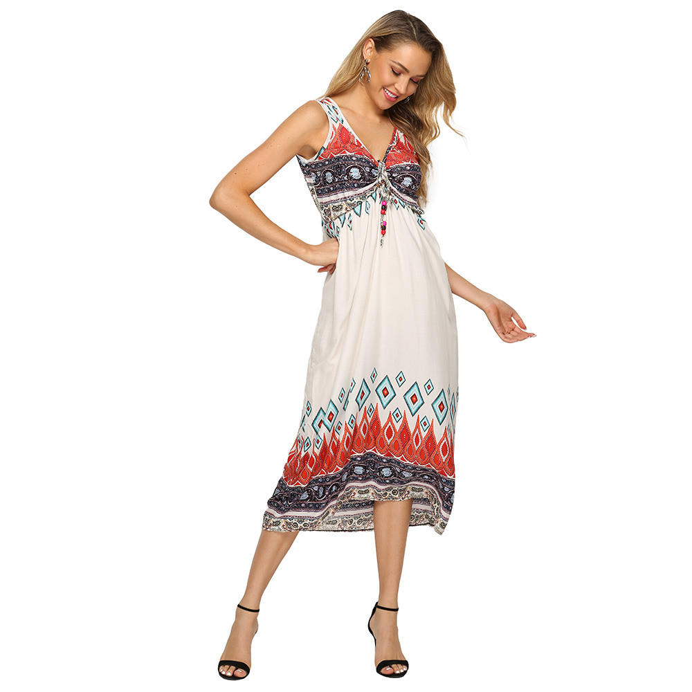 Wholesale white bow tie sexy v neck dress <strong>100</strong>% rayon sleeveless casual boho maxi long dresses woman summer 2019