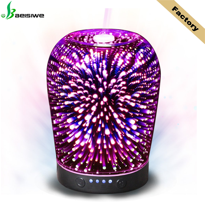 3D effect circle glass 100ML ultrasonic home humidifier 7 color light perfume essential <strong>oil</strong> diffuser