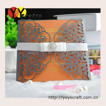 New products 2017 laser cut leaves Chinese creative wedding invitation card wholesale and retailer