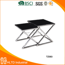 popular simple modern black coffee table with stainless steel legs