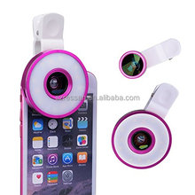 new coming 180 degree optical glass fisheye 6 in 1 macro lenses for mobile phone