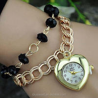 gold heart charm lady watch,crystal chain ladies fashion watches cheap(PR461)