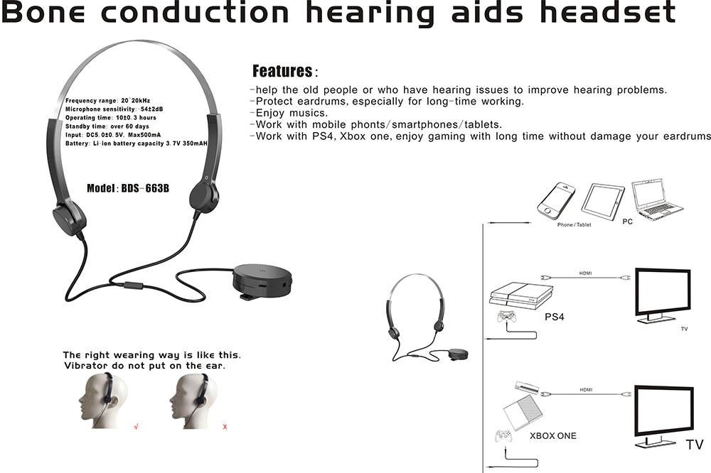 2017 New Bone Conduction Hearing Aids Headphone hearing protect bone conduction metal overhead music headset