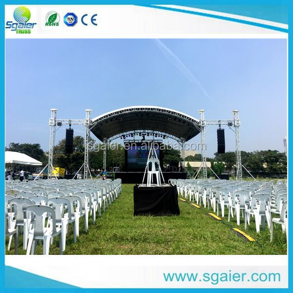 9m*9m ground support pa wings and white canopy used aluminum truss
