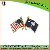 Custom quality novelty gift South Carolina and USA Crossed Flag Pin