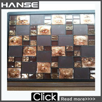 DH088 chinese hot sale factory price of 300X300 linear backsplash glass mosaic wall shell