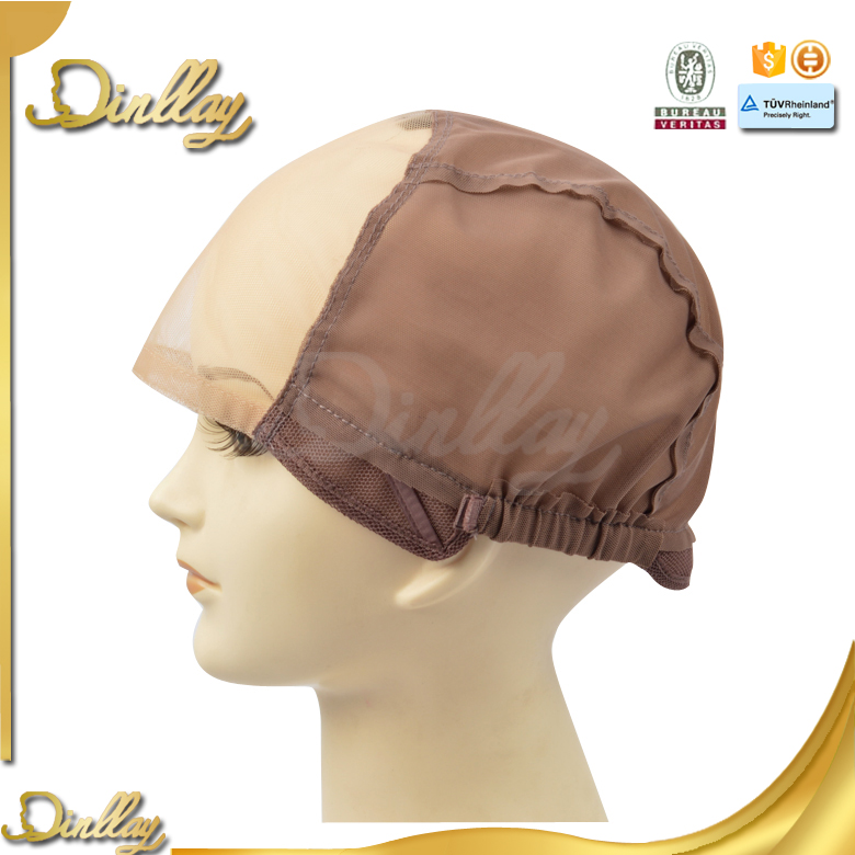 Cheap french lace brown color adjustable wig caps for making wigs