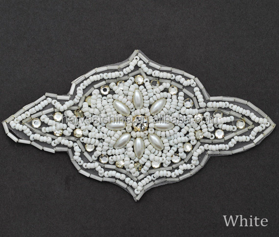 White Rhinestone Pearl Beaded Applique for dress,Acrylic Bridal Applique