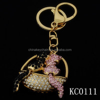 Customized Creative Couple Animal Lovers Gift 3D Rhinestone Key Chain